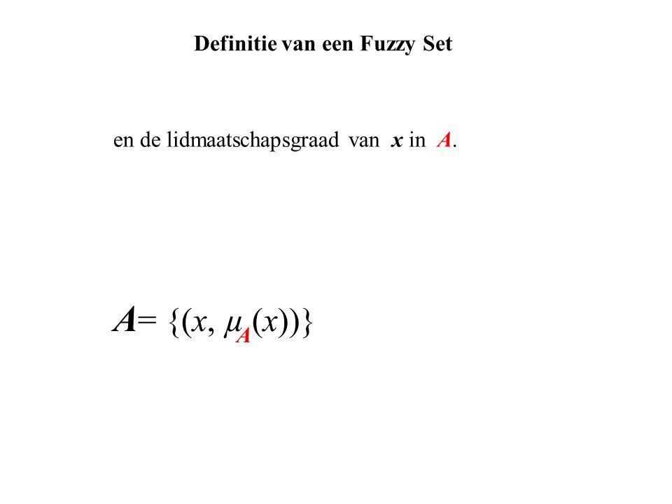 en de lidmaatschapsgraad van x in A. A = {(x, µ (x))} A Definitie van een Fuzzy Set
