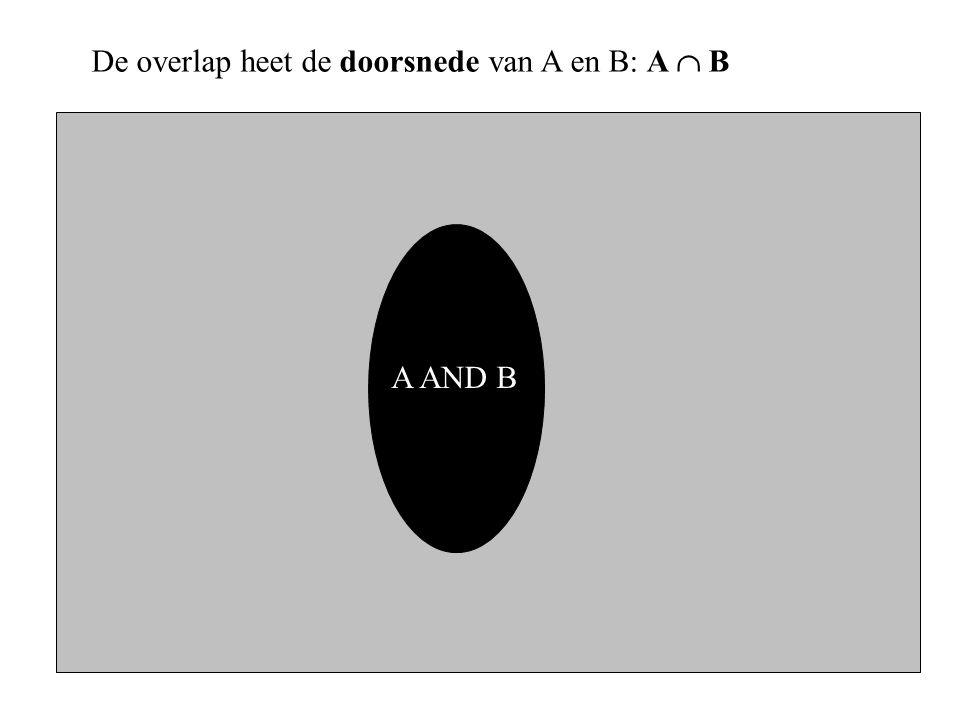 A AND B De overlap heet de doorsnede van A en B: A  B
