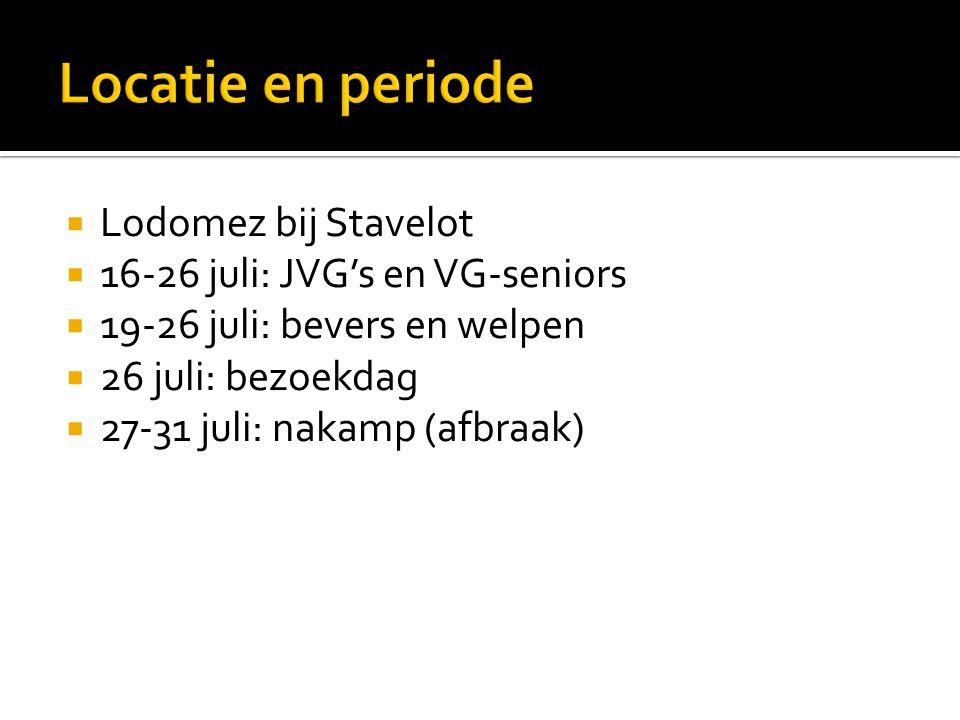 Lodomez bij Stavelot  16-26 juli: JVG's en VG-seniors  19-26 juli: bevers en welpen  26 juli: bezoekdag  27-31 juli: nakamp (afbraak)