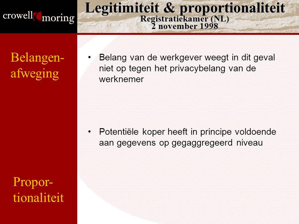 Legitimiteit & proportionaliteit Registratiekamer (NL) 2 november 1998 Belang van de werkgever weegt in dit geval niet op tegen het privacybelang van