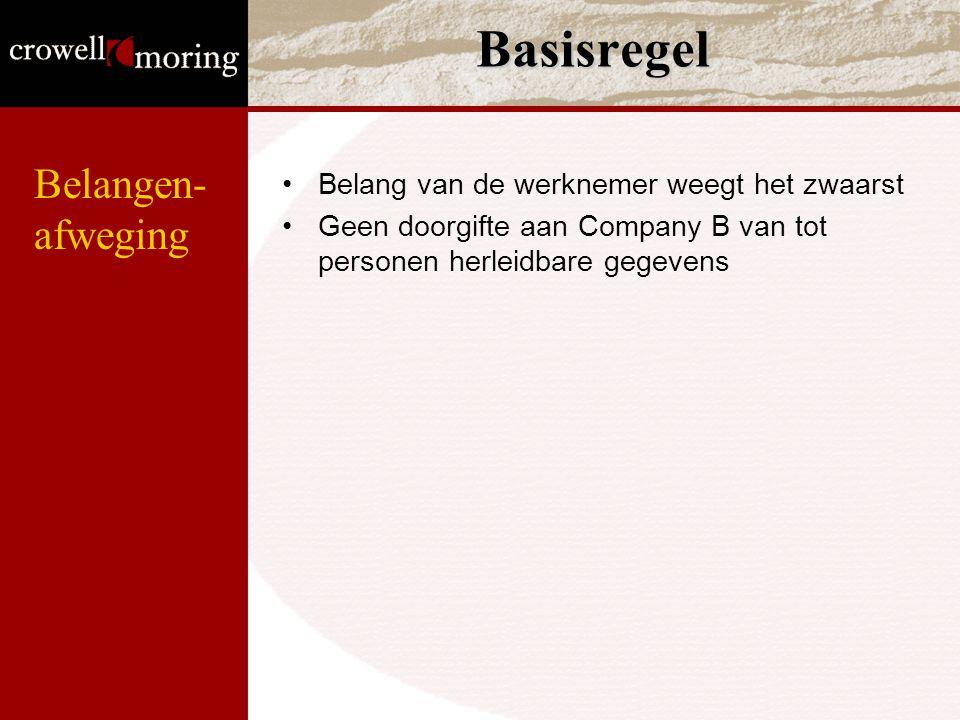 Basisregel Belang van de werknemer weegt het zwaarst Geen doorgifte aan Company B van tot personen herleidbare gegevens Belangen- afweging