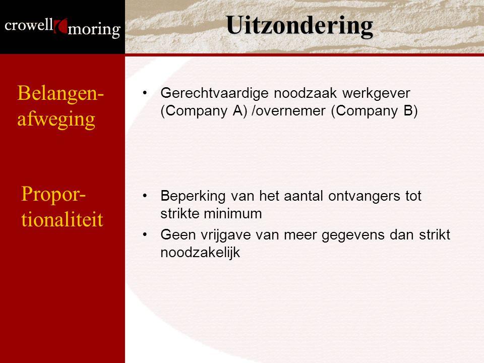 Uitzondering Gerechtvaardige noodzaak werkgever (Company A) /overnemer (Company B) Beperking van het aantal ontvangers tot strikte minimum Geen vrijga