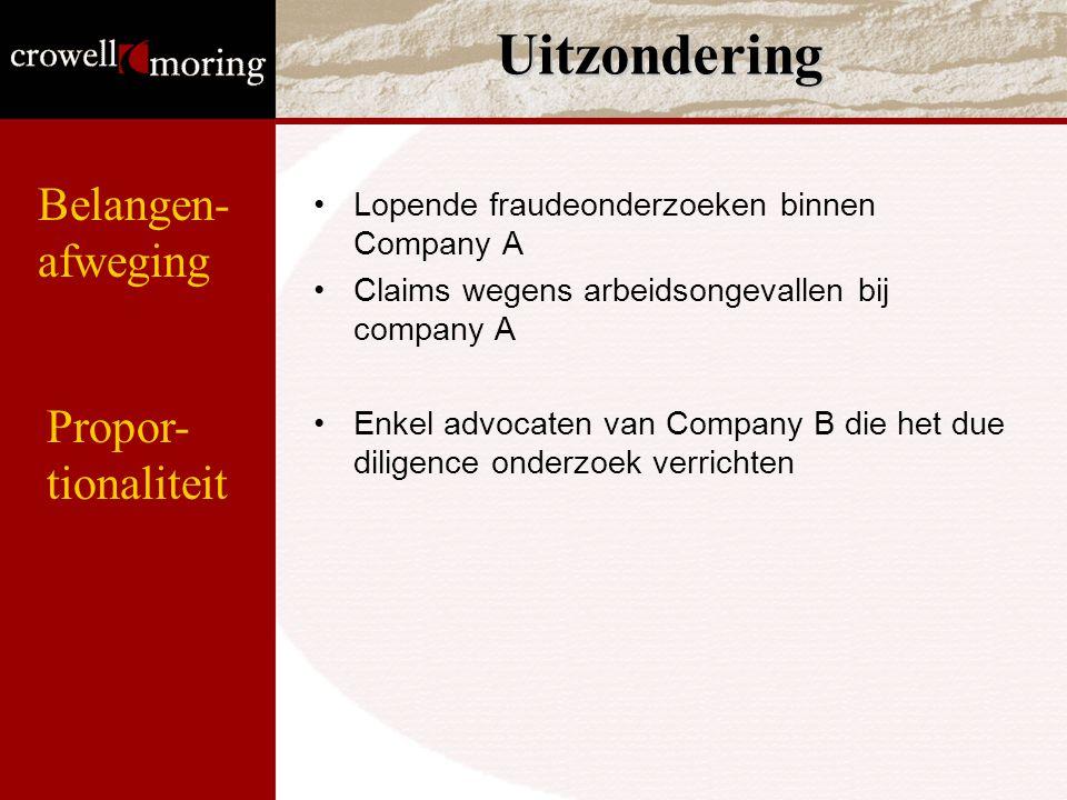 Uitzondering Lopende fraudeonderzoeken binnen Company A Claims wegens arbeidsongevallen bij company A Enkel advocaten van Company B die het due dilige