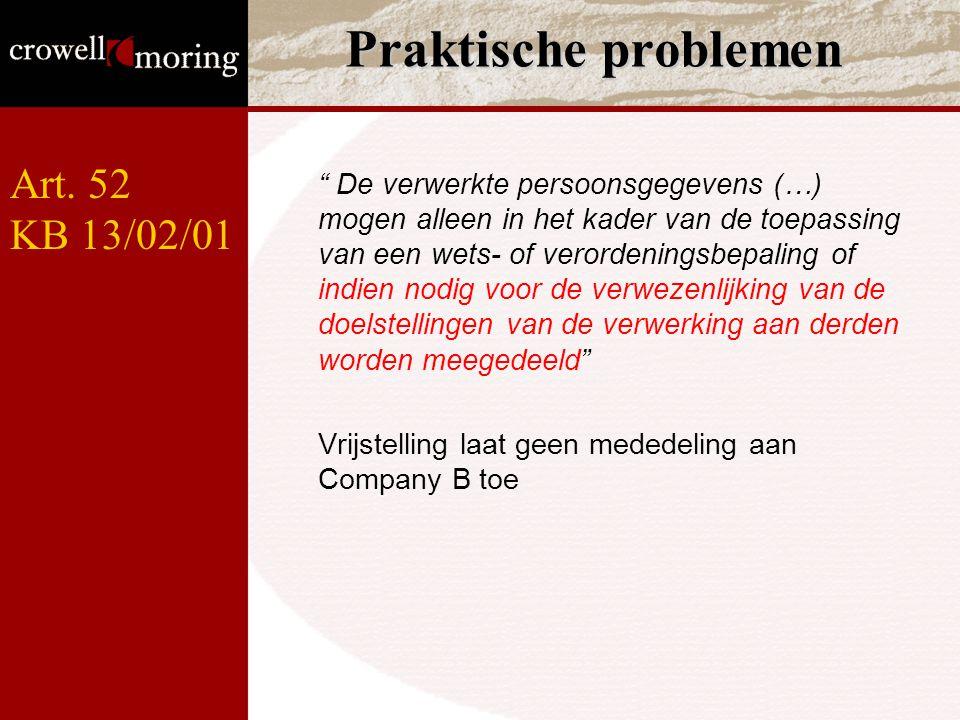"""Praktische problemen """" De verwerkte persoonsgegevens (…) mogen alleen in het kader van de toepassing van een wets- of verordeningsbepaling of indien n"""