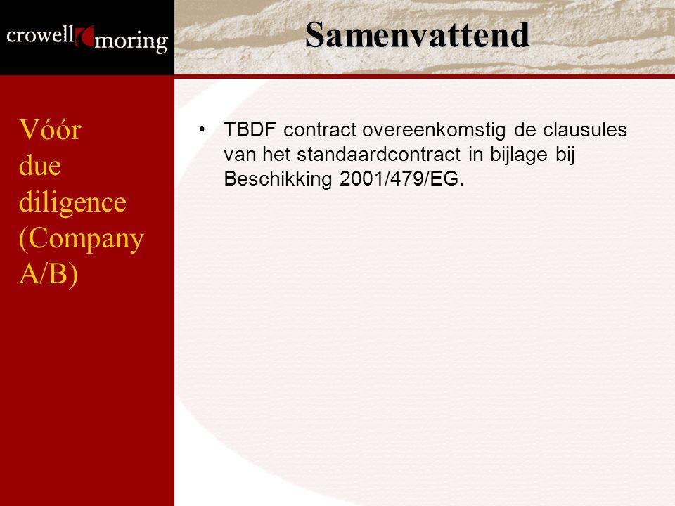 Samenvattend TBDF contract overeenkomstig de clausules van het standaardcontract in bijlage bij Beschikking 2001/479/EG. Vóór due diligence (Company A