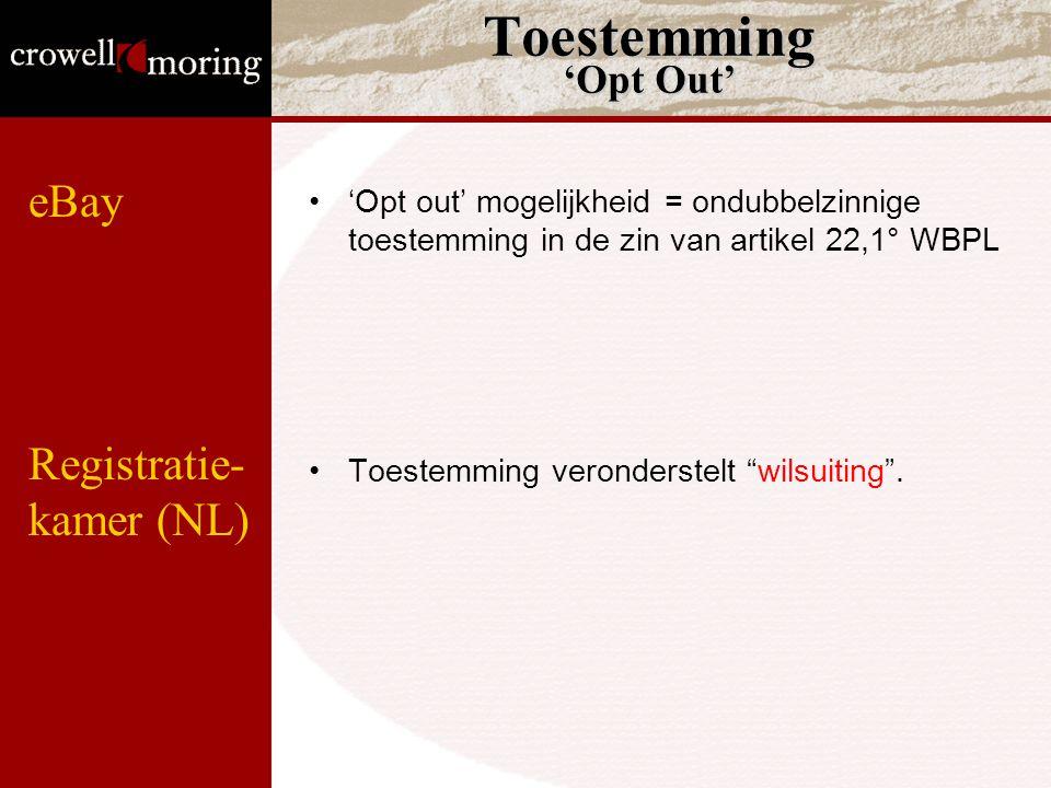 """Toestemming 'Opt Out' 'Opt out' mogelijkheid = ondubbelzinnige toestemming in de zin van artikel 22,1° WBPL Toestemming veronderstelt """"wilsuiting"""". eB"""