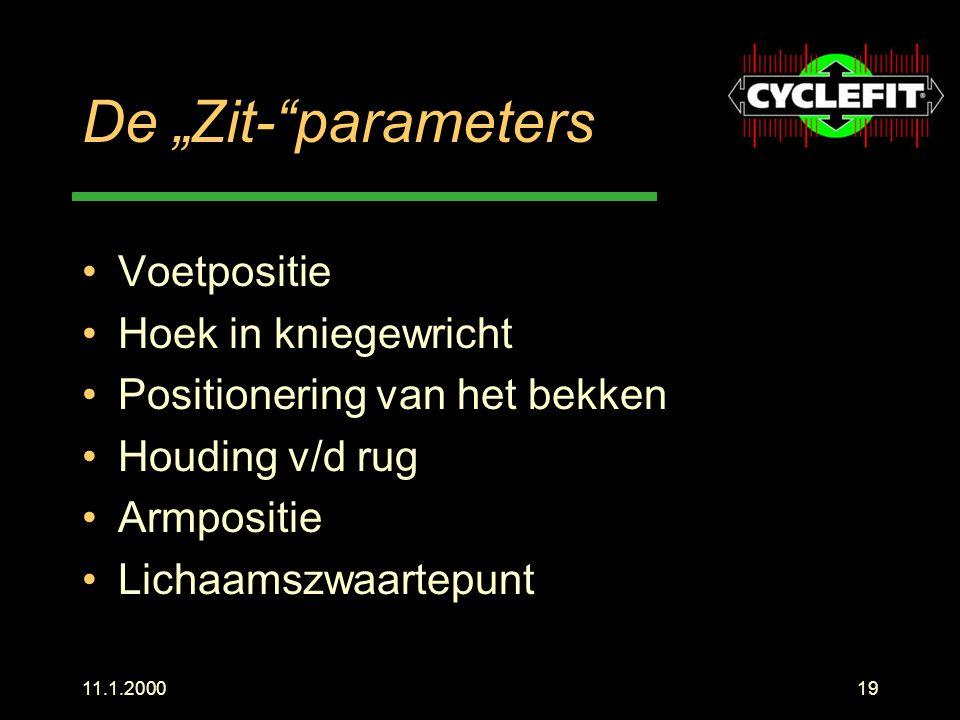 """11.1.200019 De """"Zit-""""parameters Voetpositie Hoek in kniegewricht Positionering van het bekken Houding v/d rug Armpositie Lichaamszwaartepunt"""