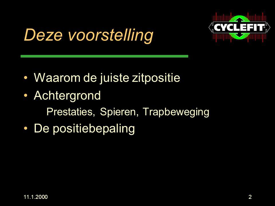 11.1.200023 Berekening met Cyclefit individueel simpel reproduceerbaar Wetenschappelijk onderbouwd Praktijk getest