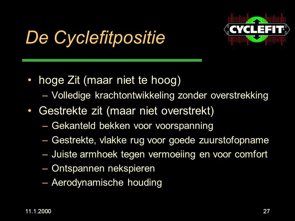 11.1.200027 De Cyclefitpositie hoge Zit (maar niet te hoog) –Volledige krachtontwikkeling zonder overstrekking Gestrekte zit (maar niet overstrekt) –G