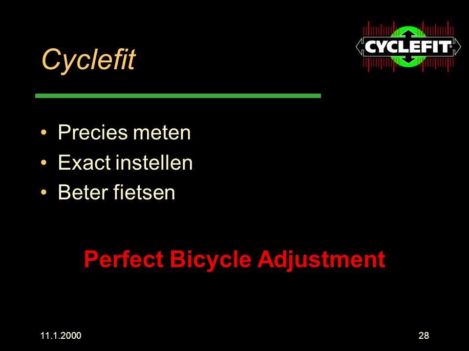 11.1.200028 Cyclefit Precies meten Exact instellen Beter fietsen Perfect Bicycle Adjustment