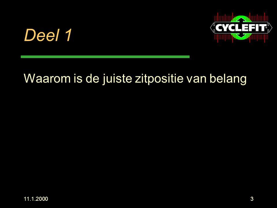 11.1.20004 Het doel Sneller fietsen Langer fietsen Minder vermoeing