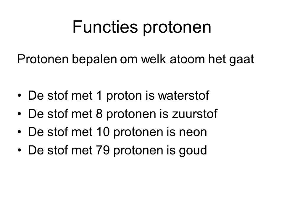 Functies protonen Protonen bepalen om welk atoom het gaat De stof met 1 proton is waterstof De stof met 8 protonen is zuurstof De stof met 10 protonen