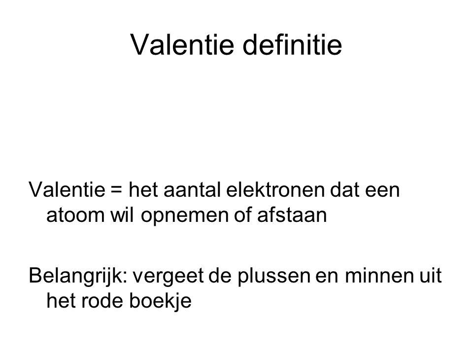 Valentie definitie Valentie = het aantal elektronen dat een atoom wil opnemen of afstaan Belangrijk: vergeet de plussen en minnen uit het rode boekje