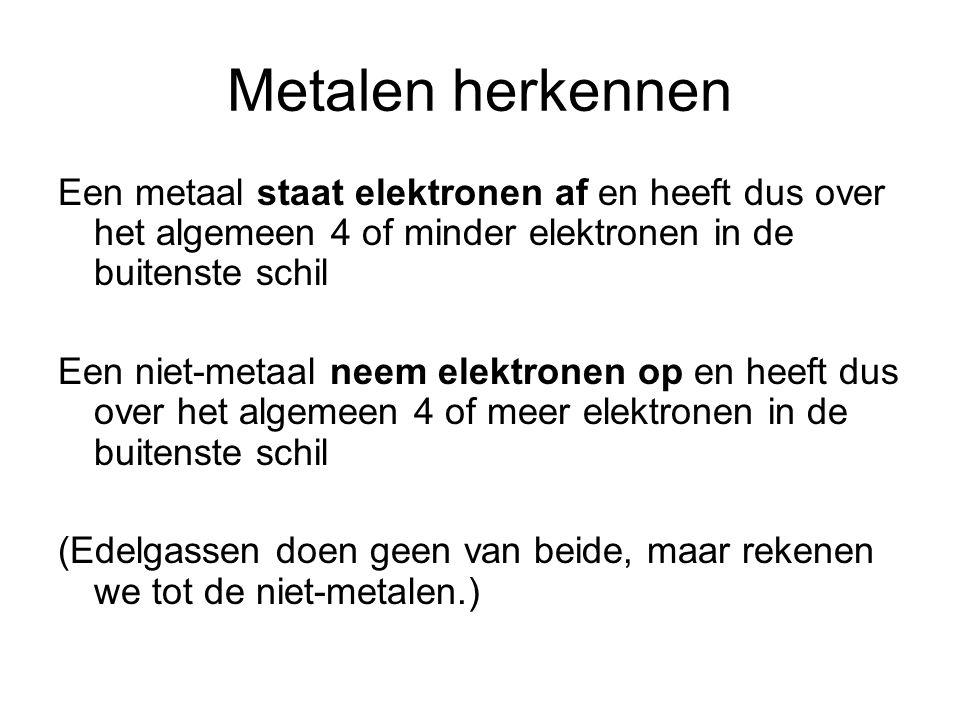 Metalen herkennen Een metaal staat elektronen af en heeft dus over het algemeen 4 of minder elektronen in de buitenste schil Een niet-metaal neem elek