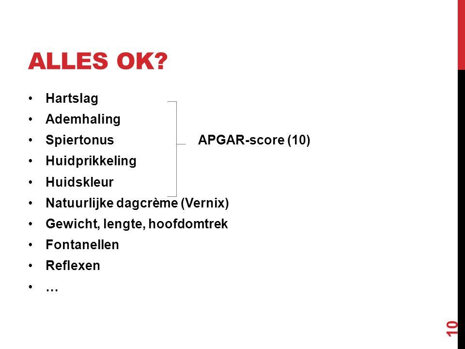 ALLES OK? Hartslag Ademhaling Spiertonus APGAR-score (10) Huidprikkeling Huidskleur Natuurlijke dagcrème (Vernix) Gewicht, lengte, hoofdomtrek Fontane