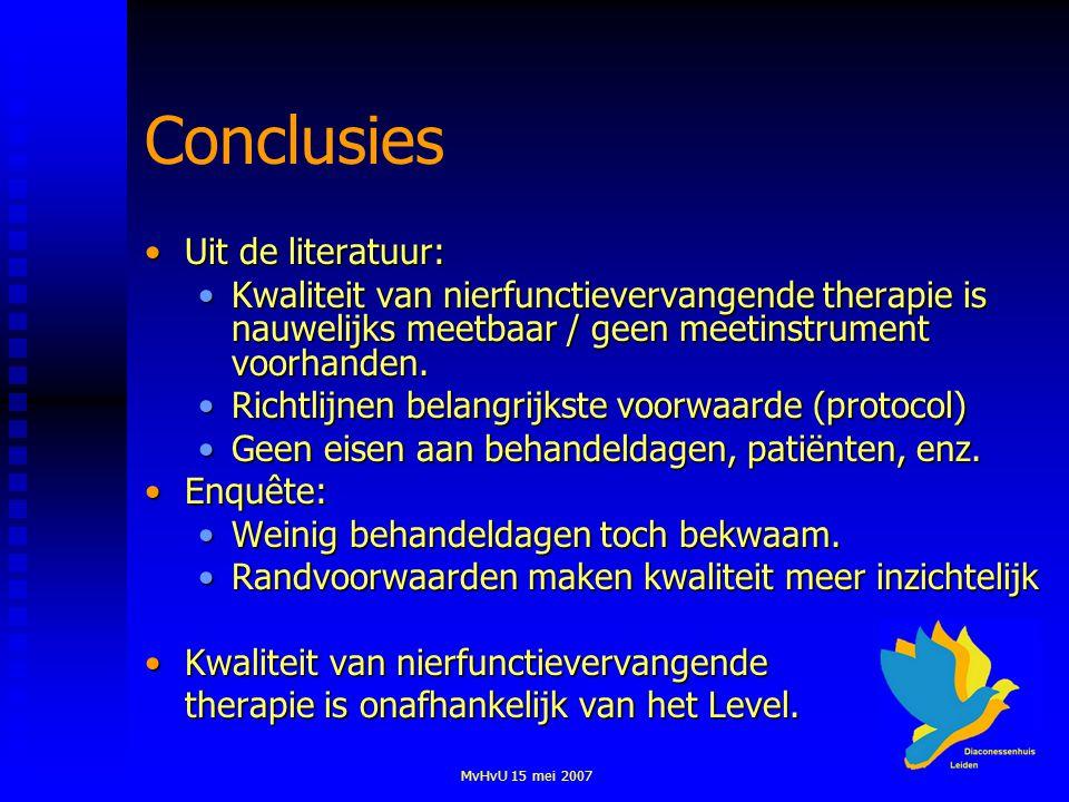 MvHvU 15 mei 2007 Conclusies Uit de literatuur:Uit de literatuur: Kwaliteit van nierfunctievervangende therapie is nauwelijks meetbaar / geen meetinst