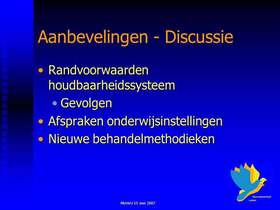 MvHvU 15 mei 2007 Aanbevelingen - Discussie Randvoorwaarden houdbaarheidssysteemRandvoorwaarden houdbaarheidssysteem GevolgenGevolgen Afspraken onderw