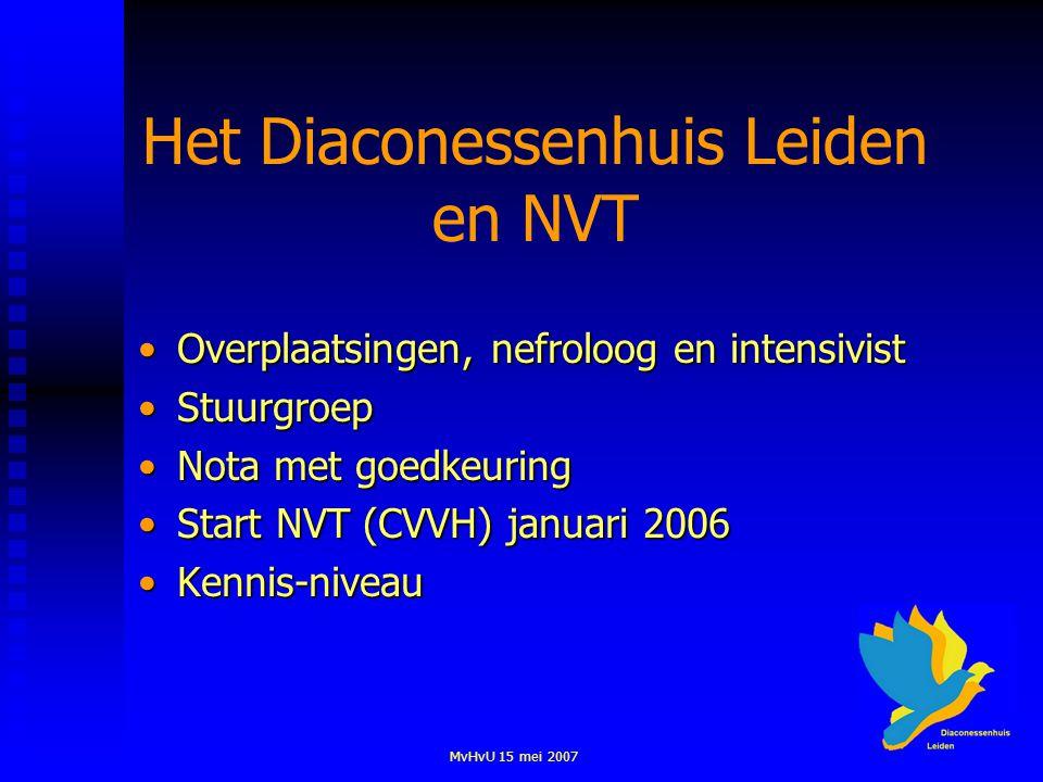 MvHvU 15 mei 2007 Het Diaconessenhuis Leiden en NVT Overplaatsingen, nefroloog en intensivistOverplaatsingen, nefroloog en intensivist StuurgroepStuurgroep Nota met goedkeuringNota met goedkeuring Start NVT (CVVH) januari 2006Start NVT (CVVH) januari 2006 Kennis-niveauKennis-niveau