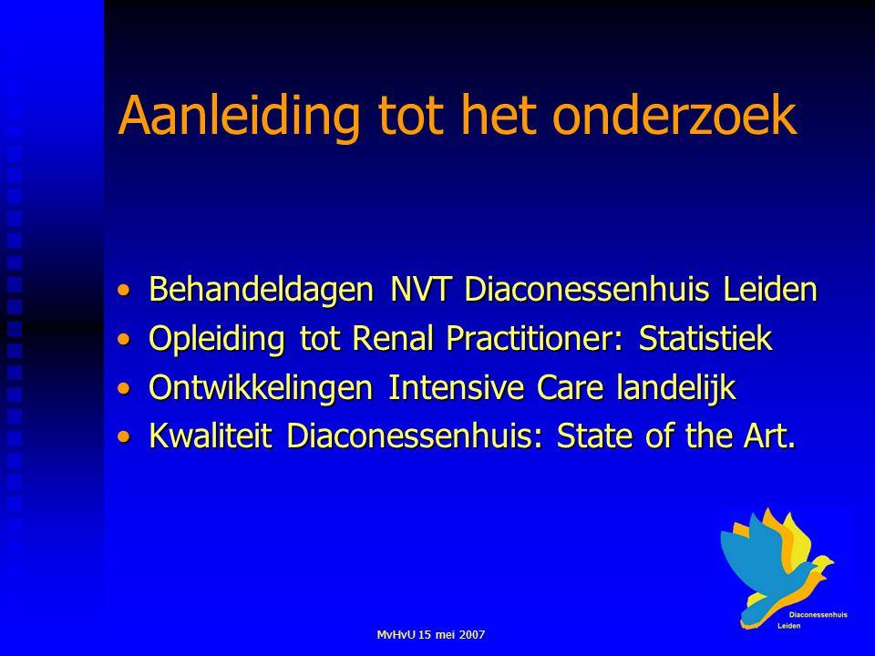 MvHvU 15 mei 2007 Aanleiding tot het onderzoek Behandeldagen NVT Diaconessenhuis LeidenBehandeldagen NVT Diaconessenhuis Leiden Opleiding tot Renal Pr