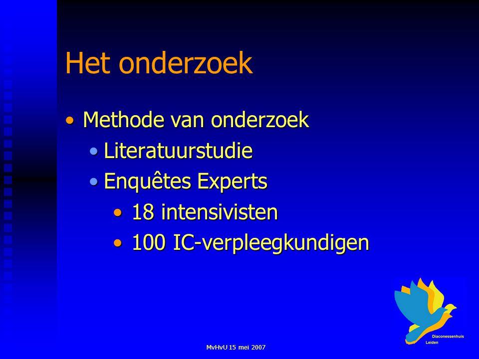 MvHvU 15 mei 2007 Het onderzoek Methode van onderzoekMethode van onderzoek LiteratuurstudieLiteratuurstudie Enquêtes ExpertsEnquêtes Experts 18 intens