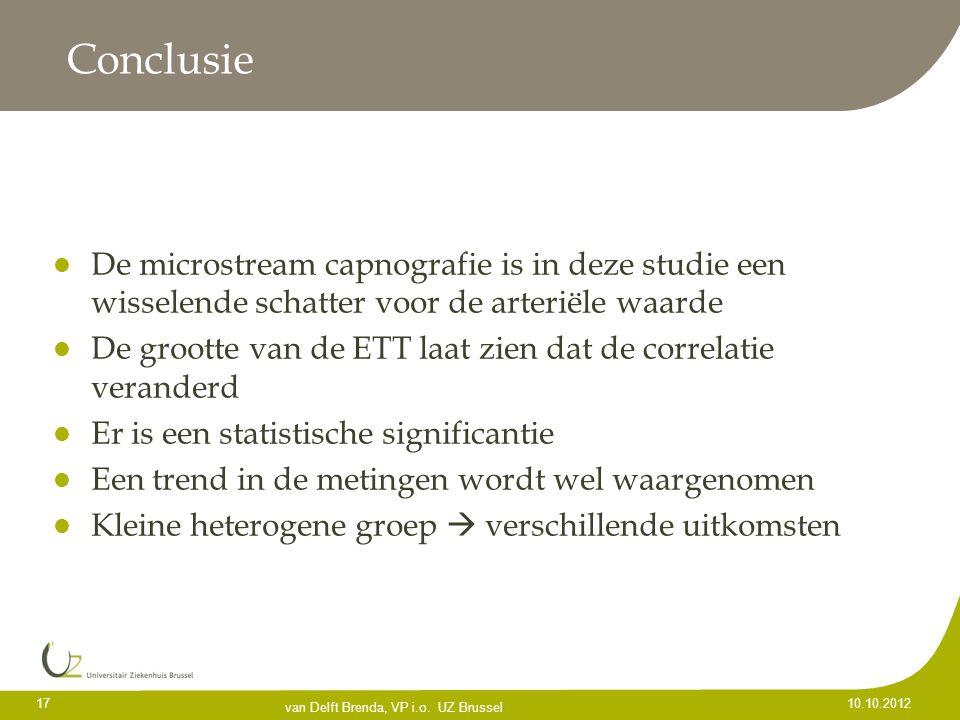 Conclusie De microstream capnografie is in deze studie een wisselende schatter voor de arteriële waarde De grootte van de ETT laat zien dat de correla