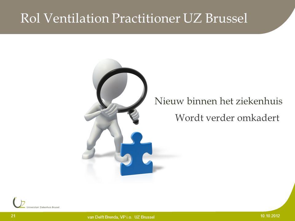 21 10.10.2012 Rol Ventilation Practitioner UZ Brussel Nieuw binnen het ziekenhuis Wordt verder omkadert van Delft Brenda, VP i.o. UZ Brussel