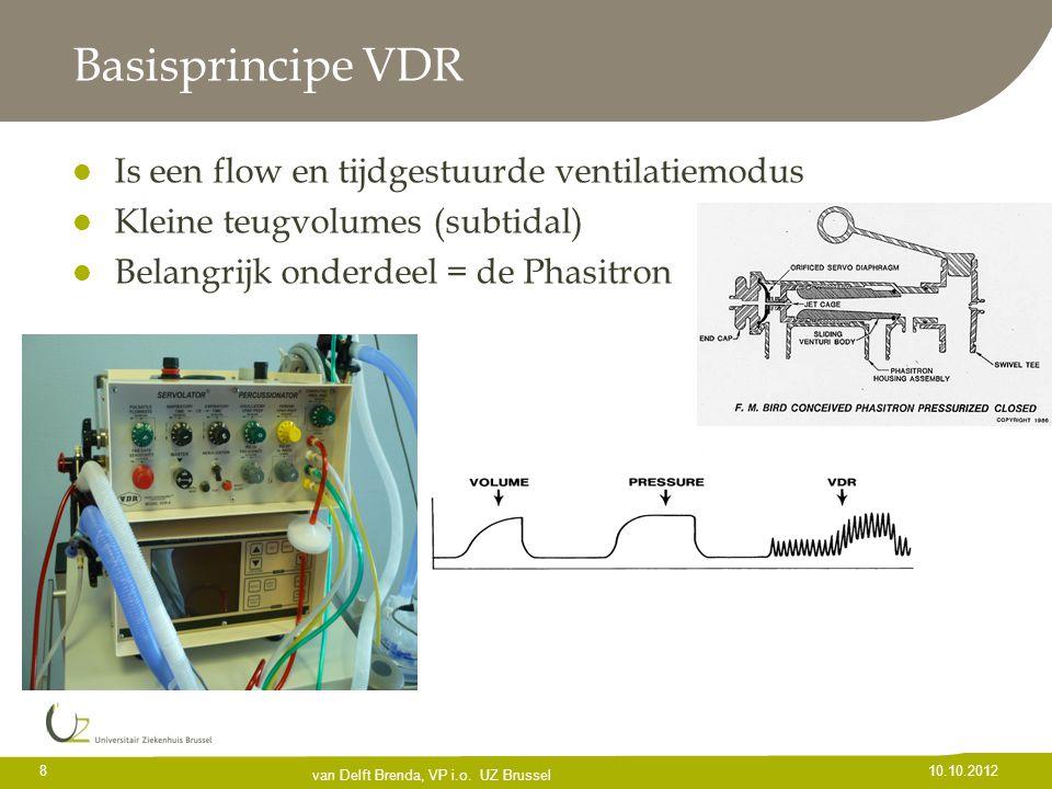 Basisprincipe VDR Is een flow en tijdgestuurde ventilatiemodus Kleine teugvolumes (subtidal) Belangrijk onderdeel = de Phasitron 8 10.10.2012 van Delf