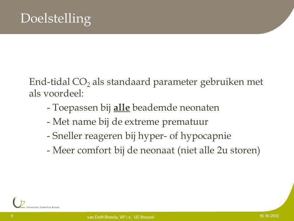 Doelstelling End-tidal CO 2 als standaard parameter gebruiken met als voordeel: - Toepassen bij alle beademde neonaten - Met name bij de extreme prema