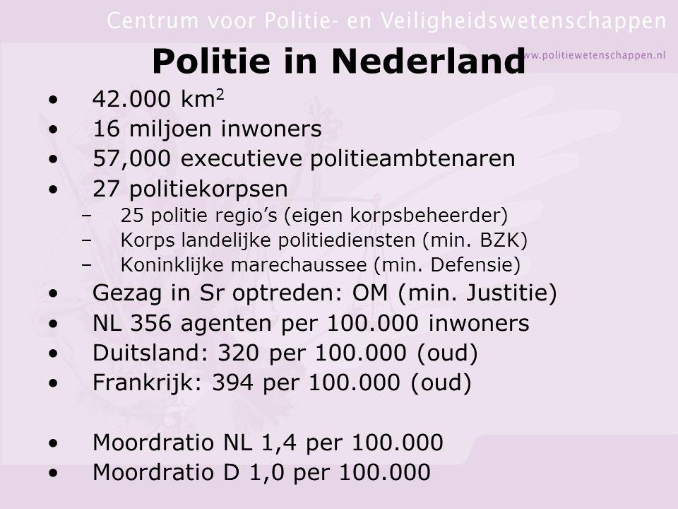 Politie in Nederland 42.000 km 2 16 miljoen inwoners 57,000 executieve politieambtenaren 27 politiekorpsen –25 politie regio's (eigen korpsbeheerder) –Korps landelijke politiediensten (min.