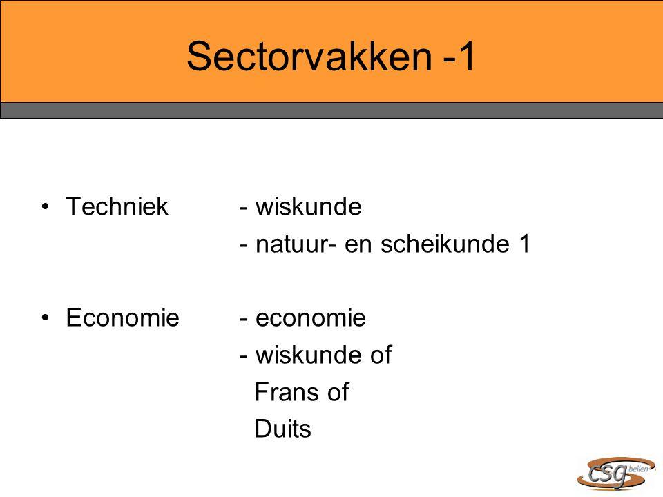 Sectorvakken -1 Techniek- wiskunde - natuur- en scheikunde 1 Economie- economie - wiskunde of Frans of Duits
