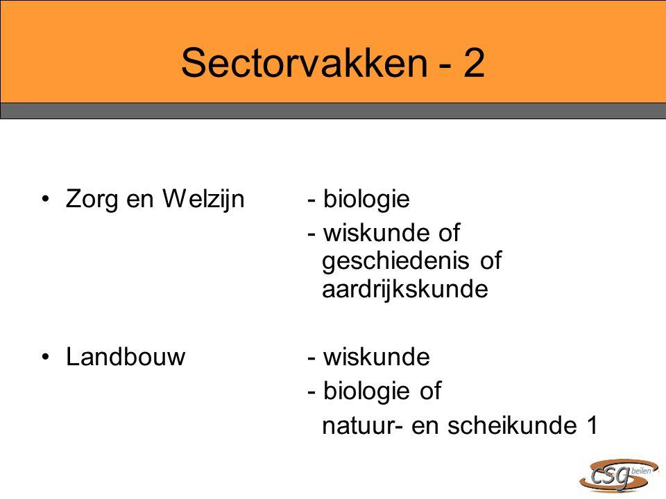 Sectorvakken - 2 Zorg en Welzijn- biologie - wiskunde of geschiedenis of aardrijkskunde Landbouw- wiskunde - biologie of natuur- en scheikunde 1