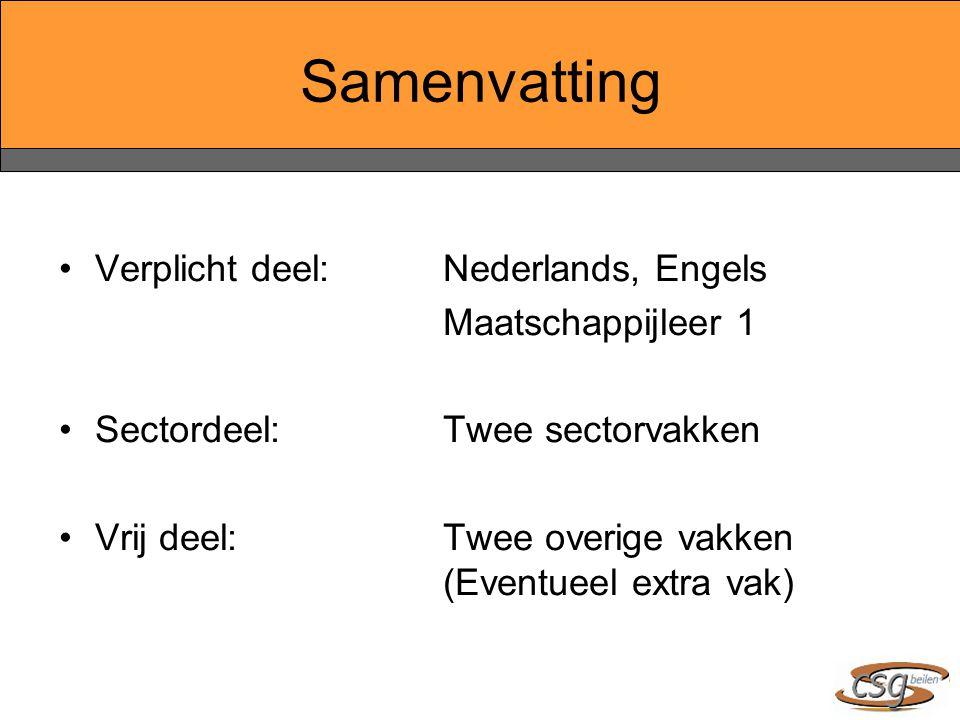 Samenvatting Verplicht deel:Nederlands, Engels Maatschappijleer 1 Sectordeel:Twee sectorvakken Vrij deel:Twee overige vakken (Eventueel extra vak)