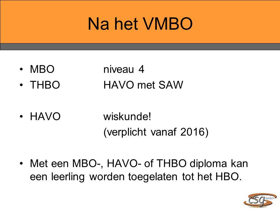 Na het VMBO MBO niveau 4 THBOHAVO met SAW HAVOwiskunde! (verplicht vanaf 2016) Met een MBO-, HAVO- of THBO diploma kan een leerling worden toegelaten