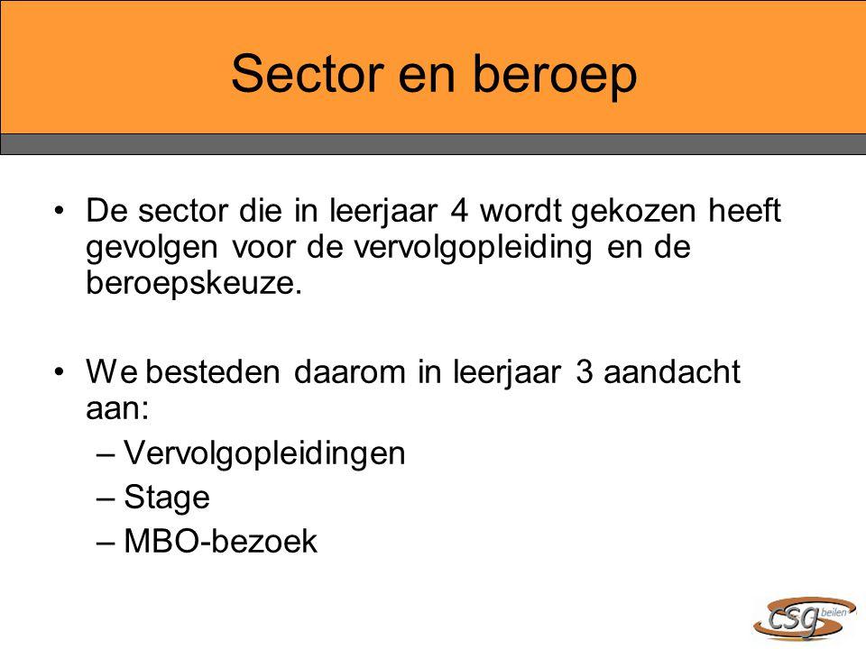 Sector en beroep De sector die in leerjaar 4 wordt gekozen heeft gevolgen voor de vervolgopleiding en de beroepskeuze. We besteden daarom in leerjaar