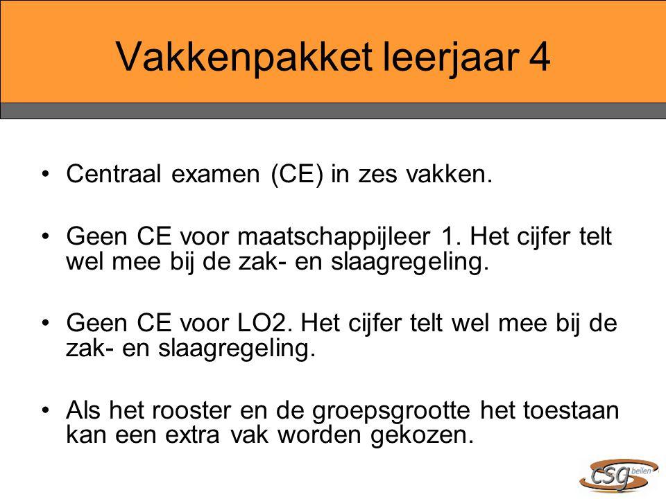 Vakkenpakket leerjaar 4 Centraal examen (CE) in zes vakken. Geen CE voor maatschappijleer 1. Het cijfer telt wel mee bij de zak- en slaagregeling. Gee