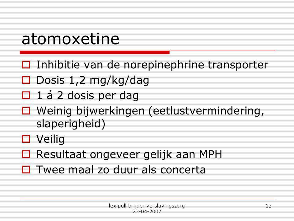 lex pull brijder verslavingszorg 23-04-2007 13 atomoxetine  Inhibitie van de norepinephrine transporter  Dosis 1,2 mg/kg/dag  1 á 2 dosis per dag 