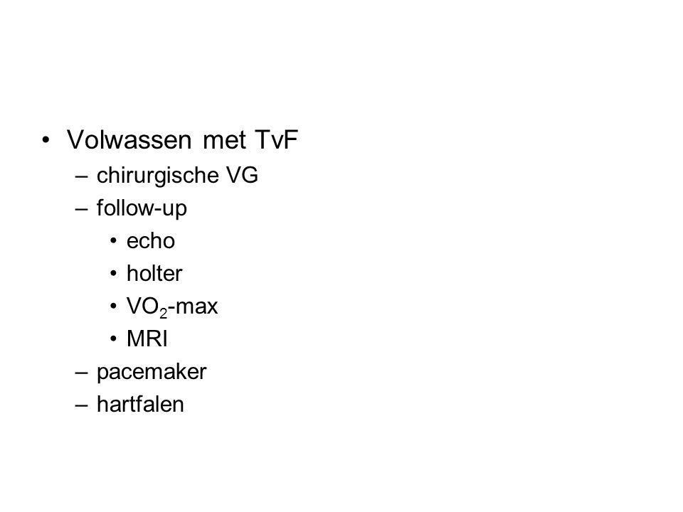 Volwassen met TvF –chirurgische VG –follow-up echo holter VO 2 -max MRI –pacemaker –hartfalen