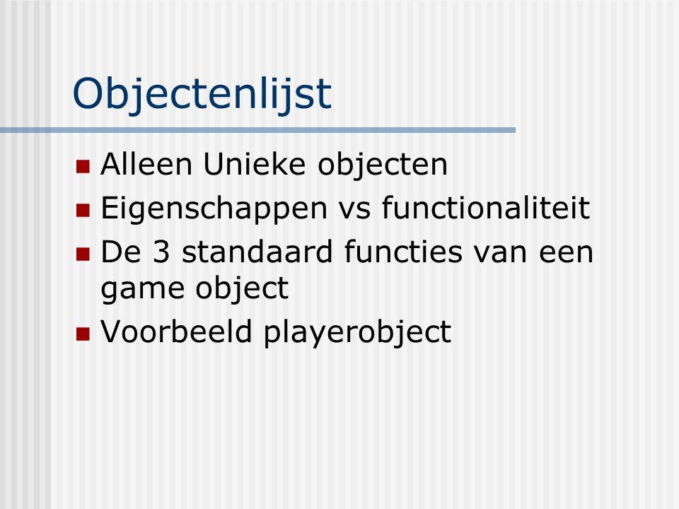 Objectenlijst Alleen Unieke objecten Eigenschappen vs functionaliteit De 3 standaard functies van een game object Voorbeeld playerobject