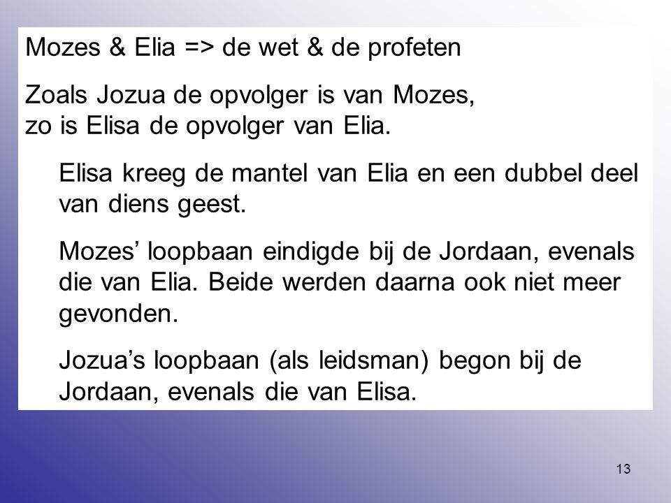 13 Mozes & Elia => de wet & de profeten Zoals Jozua de opvolger is van Mozes, zo is Elisa de opvolger van Elia. Elisa kreeg de mantel van Elia en een