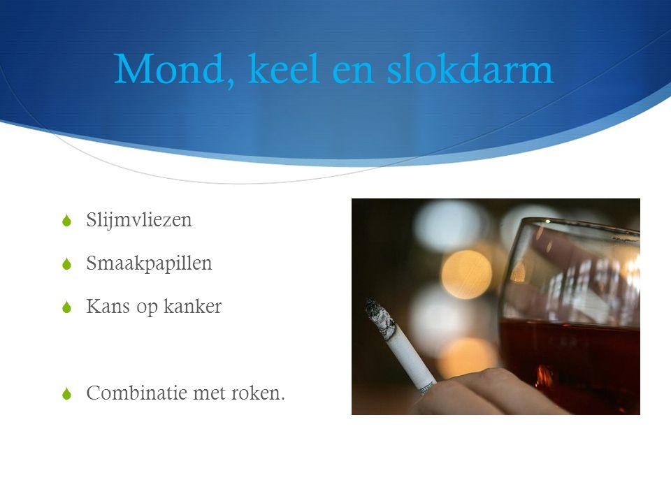 Mond, keel en slokdarm  Slijmvliezen  Smaakpapillen  Kans op kanker  Combinatie met roken.