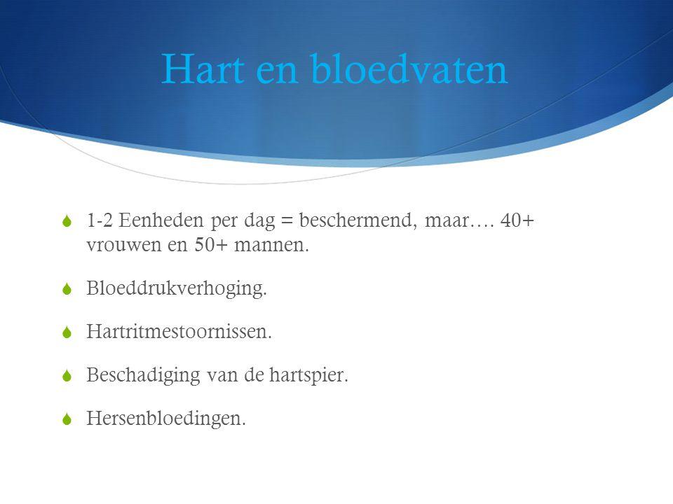 Hart en bloedvaten  1-2 Eenheden per dag = beschermend, maar….