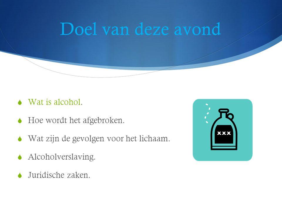 Alcohol  Werkzame stof in dranken als wijn, jenever, bier  C2H5OH = ethylalcohol, ethanol.