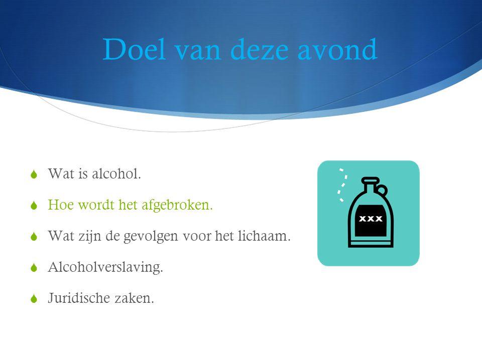 Afbraak van alcohol  20% opname via de maag. 80% via dunne darm.