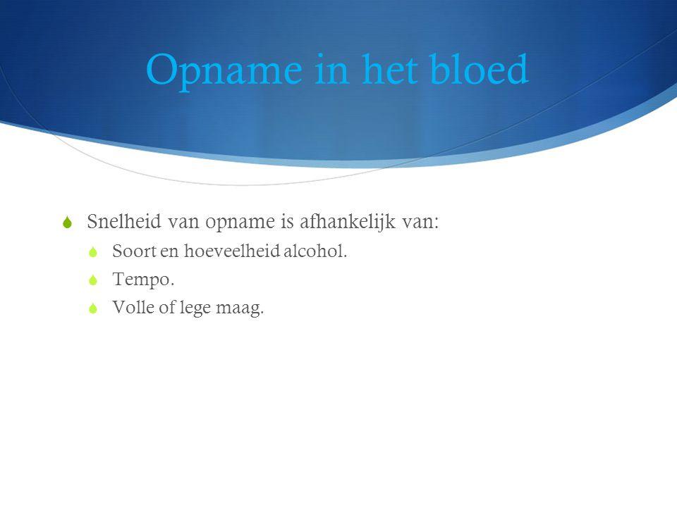 Opname in het bloed  Snelheid van opname is afhankelijk van:  Soort en hoeveelheid alcohol.