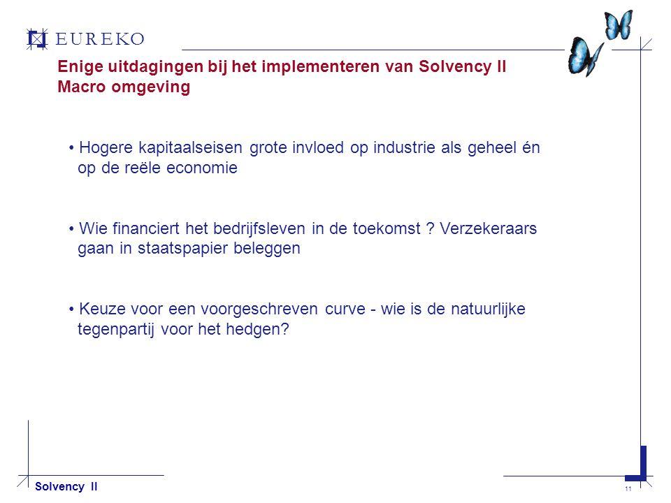 EUREKO 11 Solvency II Enige uitdagingen bij het implementeren van Solvency II Macro omgeving Hogere kapitaalseisen grote invloed op industrie als geheel én op de reële economie Wie financiert het bedrijfsleven in de toekomst .