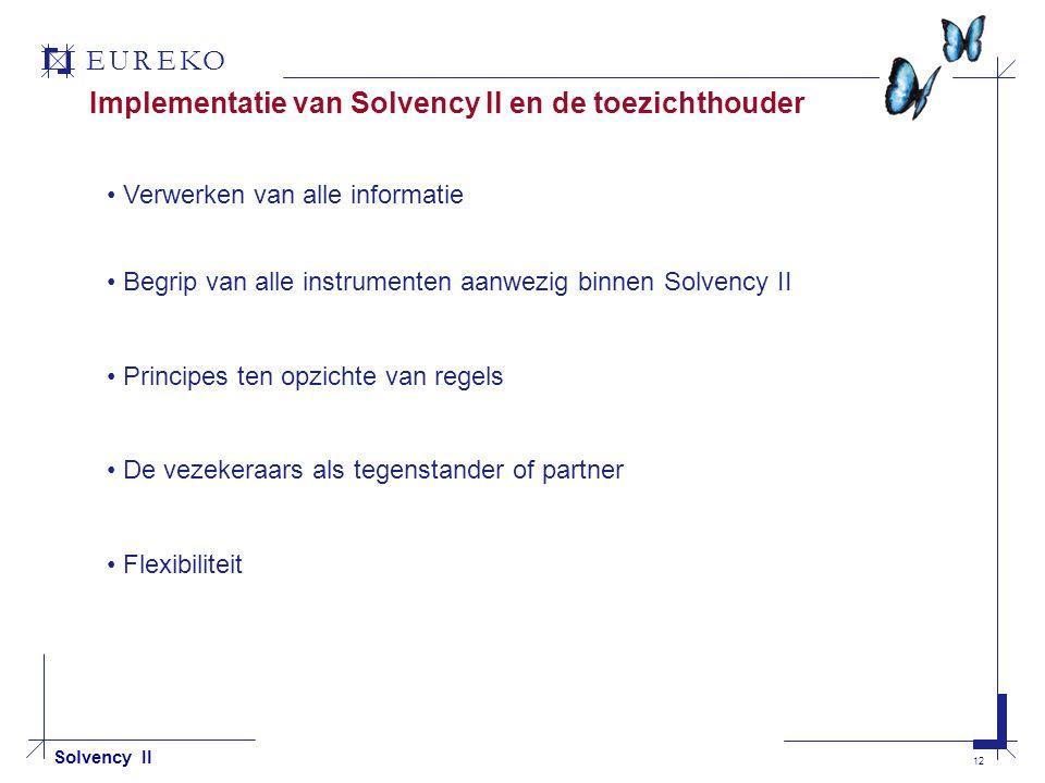 EUREKO 12 Solvency II Implementatie van Solvency II en de toezichthouder Verwerken van alle informatie Begrip van alle instrumenten aanwezig binnen Solvency II Principes ten opzichte van regels De vezekeraars als tegenstander of partner Flexibiliteit