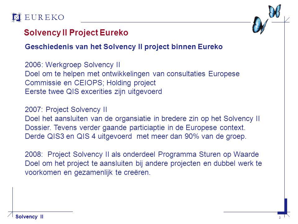 EUREKO 4 Solvency II Solvency II Project Eureko Werk groep Project groep Programma FTE Geschatte Investering Involvement business 1 1 mln Laag 5 10 mln Gemiddeld 80 > 70 mln Hoog