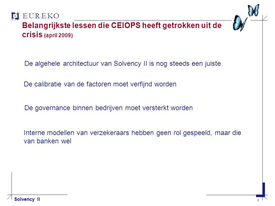 EUREKO 8 Solvency II Belangrijkste lessen die CEIOPS heeft getrokken uit de crisis (april 2009) De algehele architectuur van Solvency II is nog steeds