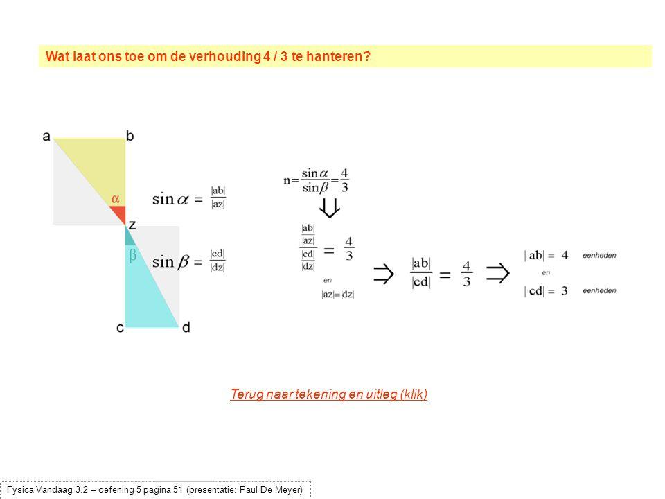 Wat laat ons toe om de verhouding 4 / 3 te hanteren? Fysica Vandaag 3.2 – oefening 5 pagina 51 (presentatie: Paul De Meyer) Terug naar tekening en uit