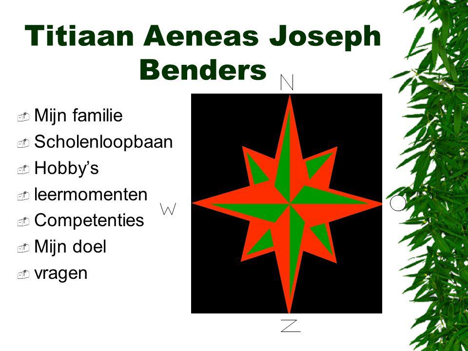 Titiaan Aeneas Joseph Benders  Mijn familie  Scholenloopbaan  Hobby's  leermomenten  Competenties  Mijn doel  vragen